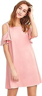 Women's Summer Cold Shoulder Ruffle Sleeves Shift Dress