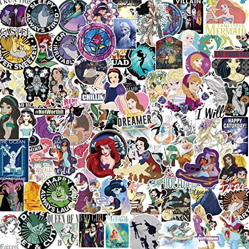 YUHANG Cartoon princess driving to the suitcase suitcase sticker cartoon princess suitcase notebook sticker 100pcs