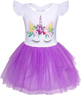 Jurebecia ニコーン ドレス フリル袖 チュチュスカート ガールズ パーティー 誕生日 子供服