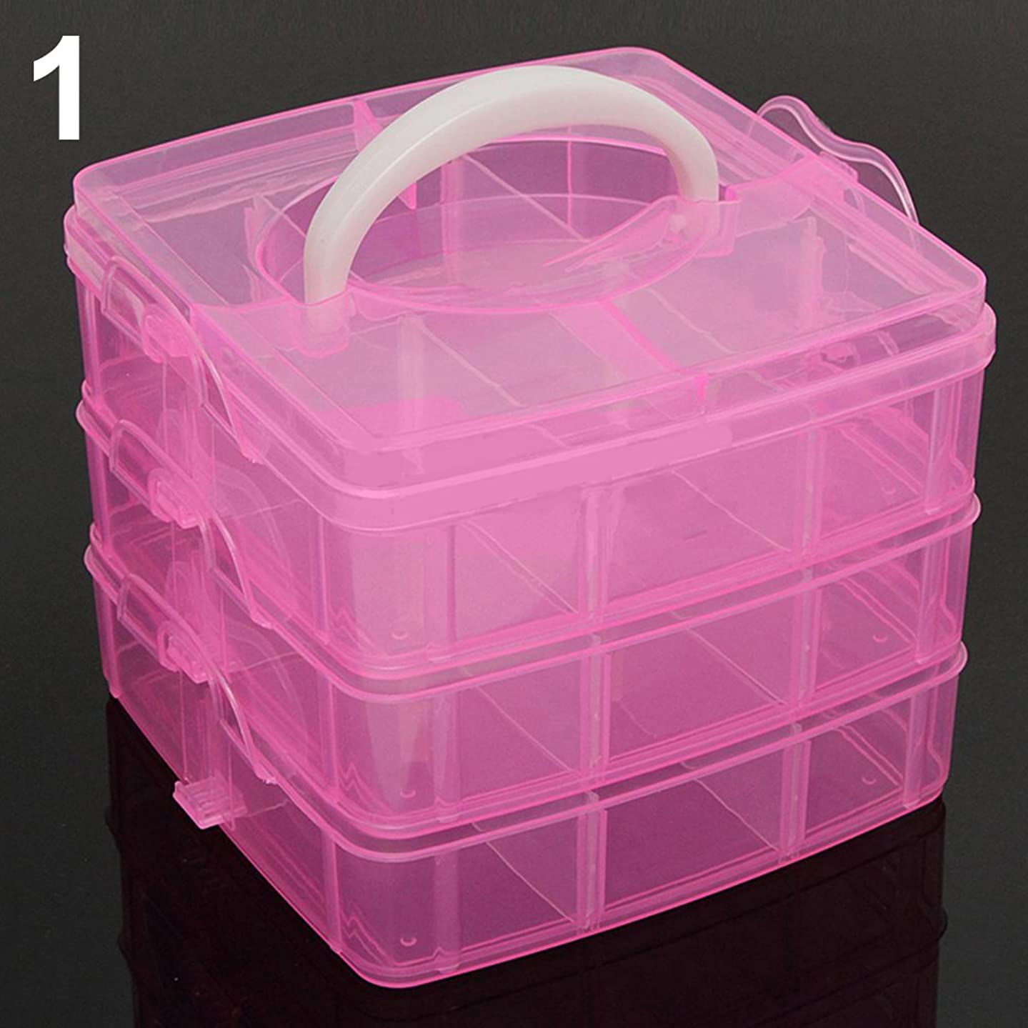 Baost 3-Layer Detachable Portable Clear Plastic Ornament Box Holder Carrier Art Craft Jewelry Earring Ring Beads Sewing Accessories Storage Organizer Container Case with Handle Pink