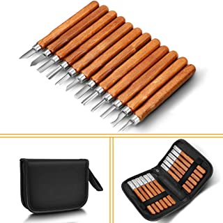 Wood Carving Tools, Adevena 12 Set SK2 Carbon Steel Sculpting Knife Kit for Beginners & Professions