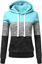 Sunmoot Clearance Striped Patchwork Blouse for Womens Plus Size Long Sleeve Casual Hooded Sweatshirt Pullover Tops