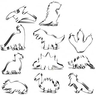 DELFINO Dinosaur Cookie Cutters, 11Pcs Different Shape Dinosaur Biscuit Cutters, Stainless Steel Cutters for Kids Dinosaur...