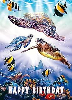 Pacifica Island Art Set of 12 Hawaiian Greeting Cards - Turtle Dive by Steve Sundram - Birthday - Glitter Card