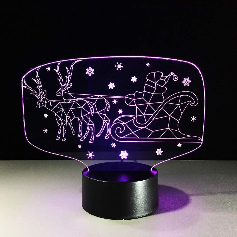 WZYMNYD 7 Farbe 3D Visuelle Led Kinder USB Nachtlicht Rentier Schlittenlampe Weihnachtsmann Lampara Auto Tischlampe Schlaf Beleuchtung