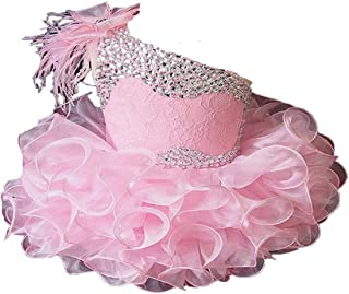Baby Girls' One Shoulder Cupcakes Toddlers Feather Mini Pageant Dress