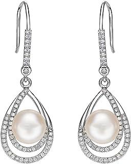 EleQueen 925 Sterling Silver CZ Cream Freshwater Cultured Pearl Teardrop Layer Bridal Hook Earrings Clear