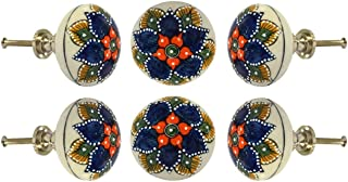 Set of 6 Cabinet Knobs Ceramic Daroca Handmade Drawer Pull Diameter 2.0