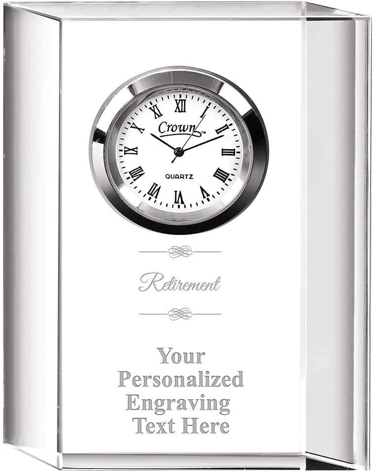 Crown 新作からSALEアイテム等お得な商品満載 Awards Retirement Colleague お洒落 Personalize Crystal Clock with