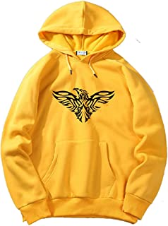 The SV Style Unisex Yellow Hoodie with Black Print: Eagle/Printed Yellow Hoodie/Graphic Printed Hoodie/Hoodie for Men & Women/Warm Hoodie/Unisex Hoodie