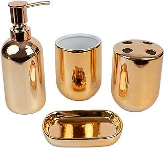 Home Basics Gift Beautiful Chic 4 Pcs Ceramic Durable Bath Accessory Set-Decorative Lotion Dispenser/Dish/Tumbler/Toothbrush Holder (Copper Gold) Perfect Gift & Decorating Idea