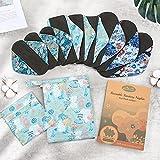 Viedouce Assorbenti Lgienici Lavabili in Fibra di Bambù,Super Assorbenza,Riutilizzabile Sanitari Panty Liners con 2 Impermeabili Borse di Stoccaggio (S * 3pcs + M...