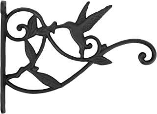 Lewondr Wall Hanging Plants Bracket, Retro Hummingbird Wrought Iron Hanging Flower Hooks Rack Wall Bracket for Plant Baske...