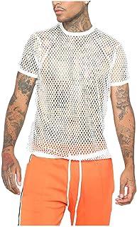 Blusa para Hombre Tendencia de Verano Camiseta con Cuello Redondo de Malla para Hombre Camiseta Fina de Manga Corta Blusa ...