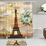 KISSENSU Cortinas con Ganchos,Torre Eiffel Vintage París Retro Flor Blanco Floral Sello Romance Ciudad Creatividad Francia Paisaje Europeo Moderno,Cortina de Ducha Alfombra de baño Bañera Accesorios