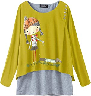 TT WARE Cartoon Print Long Sleeve Crew Neck Women Blouse-Yellow-4XL