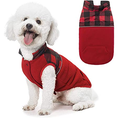 SCIROKKO Polar Fleece Dog Vest Winter Coat with Water-Proof Side Plaid Jacket Cute Clothing for Puppy /& Cats Reversible Pet Cold Weather Clothes