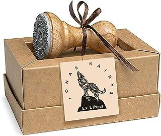 Ex libris Lupo Solitario Collina, Timbri Personalizzati, Legno Rotondo 37mm, Scatole Regalo
