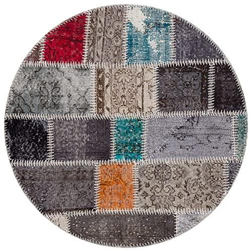 Alfombra turca de lana hecha a mano de patchwork negro P_37 Ölçü; 160x230cm 3.68m2