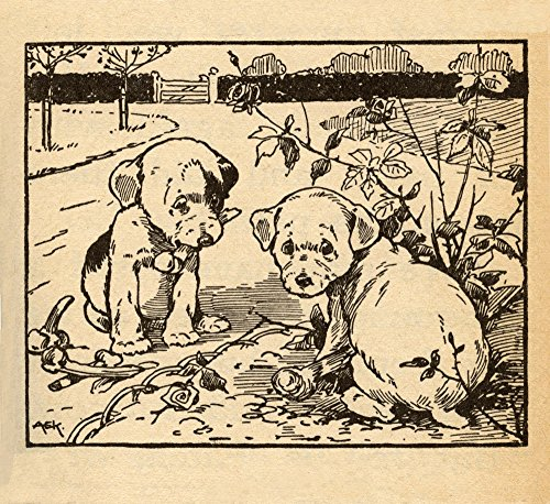 Two Puppies Destroy a Rose Bush in The Garden Poster Print by AEK (24 x 36)