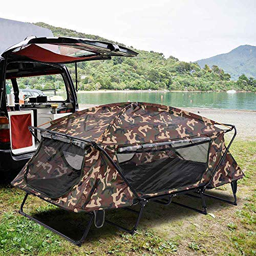 """Portable Double Tent Cot with Carry Bag Fast Folding & Easy Setup Aluminum Frame 12"""" Above Ground Waterproof Outdoor Camping Hiking Bed for 2 Person (CAMO)"""