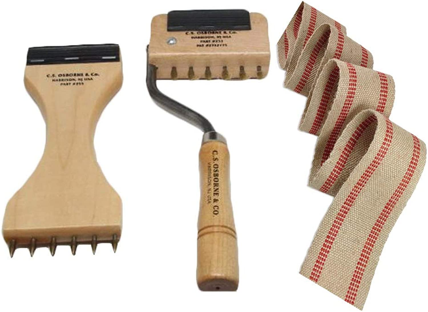 UJ Ramelson Co CS Osborne  253 255 Webbing Stretcher Puller Upholstery Tools & Natural 3 1 2  Jute Webbing-15 Yards - Made in USA