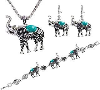CHOA Jewelry Womens Vintage Silver Elephant Turquoise Pendant Necklace Drop Earrings Link Bracelet Sets