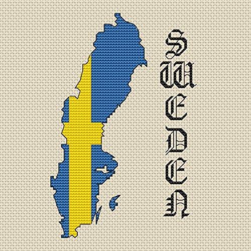 Zweden Kaart & Vlag Cross Stitch Kit door Elite Designs