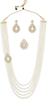 Zaveri Pearls Gold Tone Side Brooch Multilayer Necklace Earring & Ring Set For Women-ZPFK10837