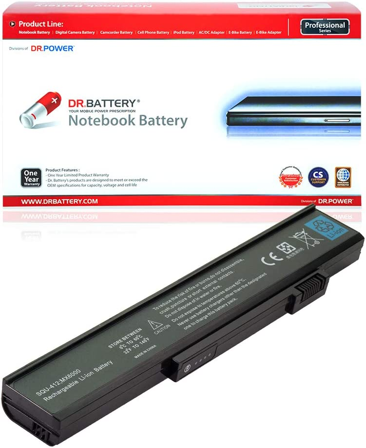 DR. BATTERY 6MSBG Battery Compatible with Gateway SQU-412 PA6A 3UR18650F-2-QC-MA1 AHA63224819 6000 6500 8515GZ 6010GZ M360 M685 SQU-412 106214 106868 1533557 1533558 3S2P[11.1V/4400mAh/49Wh]