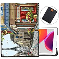"MAITTAO Case Fit New iPad 10.2"" / iPad 7th Generation 2019 Case,Trifold Stand Hard Back Shell Smart Cover for iPad 10.2 inch (A2197 A2198 A2200) Tablet Sleeve Bag 2 in 1 Bundle,Cityscape Painting 7"