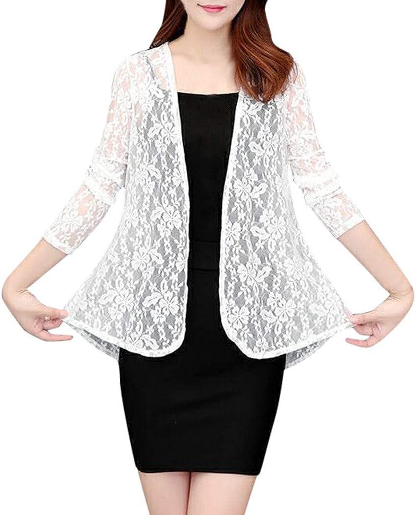 Womens Daily Cardigan Sunproof Shirt Blouse Summer Lace Long Sleeve Outwear Tops