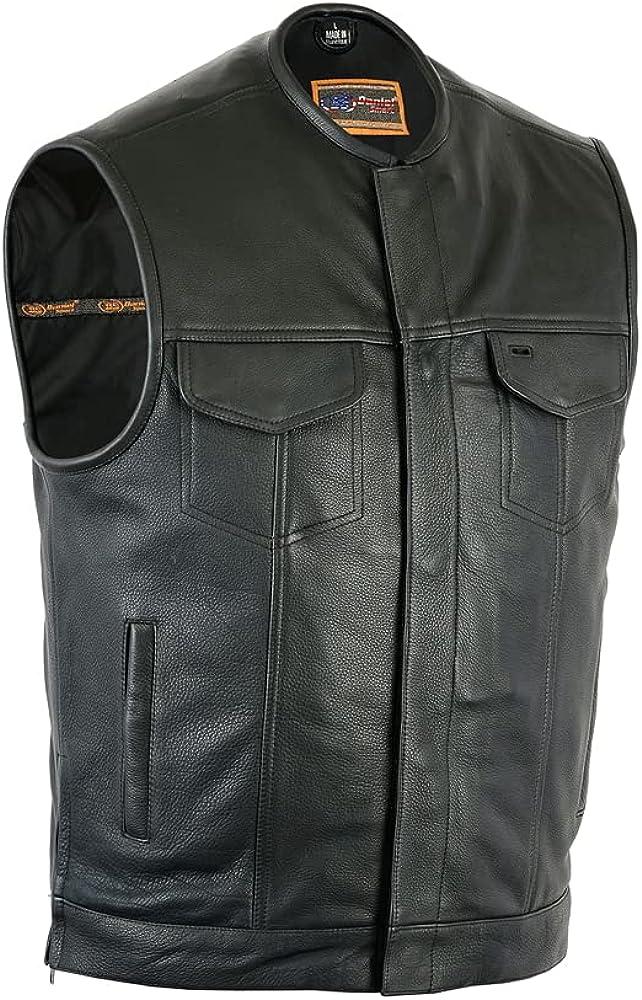 Daniel Smart Men's Leather Vest - Upgraded Style Gun Pockets - Hidden Zipper - Bottom Side Zippers