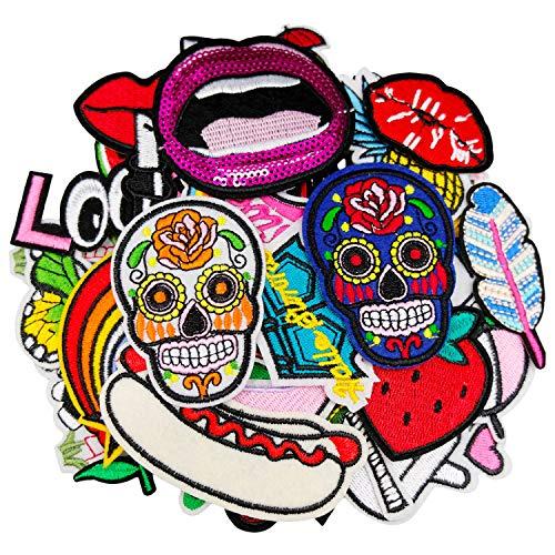 DOXU 40 parches de labios variados para coser o planchar en chaquetas, mochilas, vaqueros, ropa, sombreros, apliques decorativos (DX-03-40 piezas)