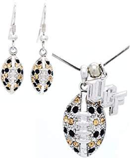 Violet Victoria & Fan Star Jewelry UCF Football Necklace and Earring Set - Black and Gold Crystals - Knights