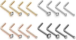 PiercingJ 16pcs 20G Stainless Steel Nose Stud Set Nose Ring 7mm L Shape Bar 1.5mm 2mm 2.5mm 3mm Cubic Zirconia Crystal Nose Women Body Piercing Jewelry