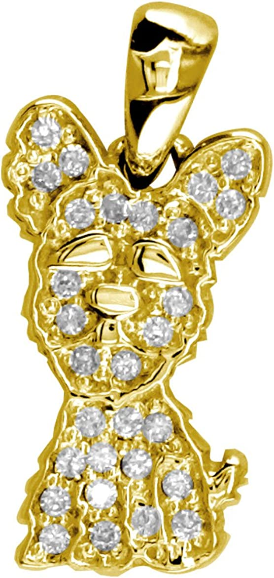 Small Diamond Yorkie Charm 0.27CT Gold 18k Finally Super popular specialty store popular brand Yellow in