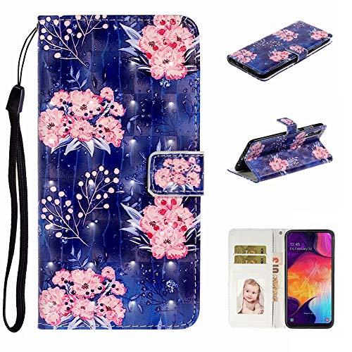 Nadoli Verkörpern 3D Bewirken Elegant Rosa Blumen Entwurf Pu Leder Ständer Karte Halter Magnetisch Lanyard Brieftasche Flip Hülle Tasche für Samsung Galaxy A50
