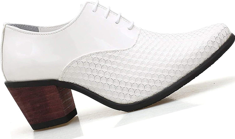 Krazy Shoe Artists White Patent Shine 2 Inch Cuban Heel Men's Oxfords   Men's White Shoes