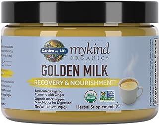 Garden of Life mykind Organics Golden Milk Recovery & Nourishment 3.7oz (105g) Powder - 44mg Turmeric Curcumin (95% Curcuminoids), Ashwagandha - Organic Non-GMO Vegan & Gluten Free Herbal Supplements
