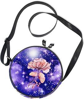 Ahomy Runde Tasche klein für Frauen – Galaxy Nebel Space Sky Abstrakt Sommer Blume Damen Mode Crossbody Tasche Umhängetasche