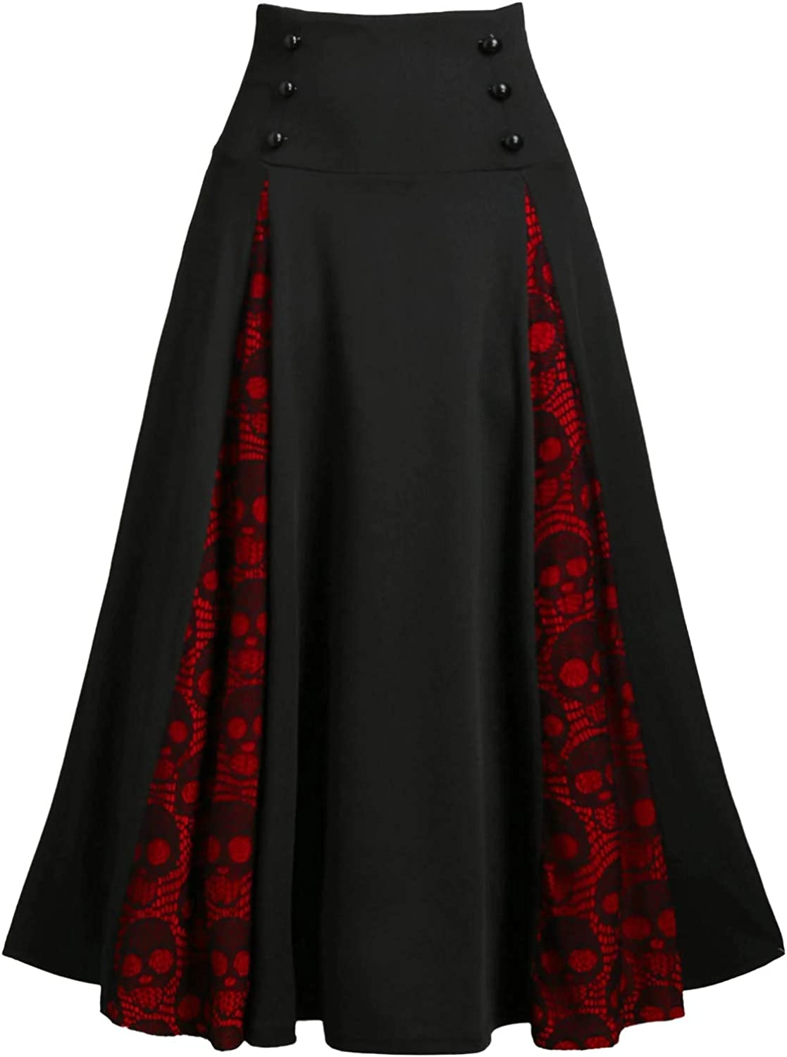 Nihsatin Womens Double Breasted Gothic Punk Midi Skirt Skull Lace Insert Lace-up Skirt