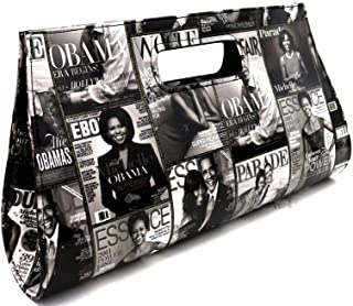 Classy Michelle Obama Magazine Cover Print Vegan Leather Patent Large Cut-out Handle Clutch Purse