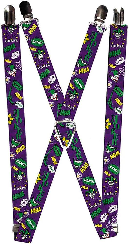 Buckle-Down Suspenders-The Joker Elements Collage Purple/Green/Yellow/