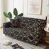 MKQB Funda de sofá elástica geométrica para Sala de Estar, Funda de sofá de Esquina Dividida telescópica, Funda de sofá Antideslizante n. ° 2 4seat-XL- (235-300cm)