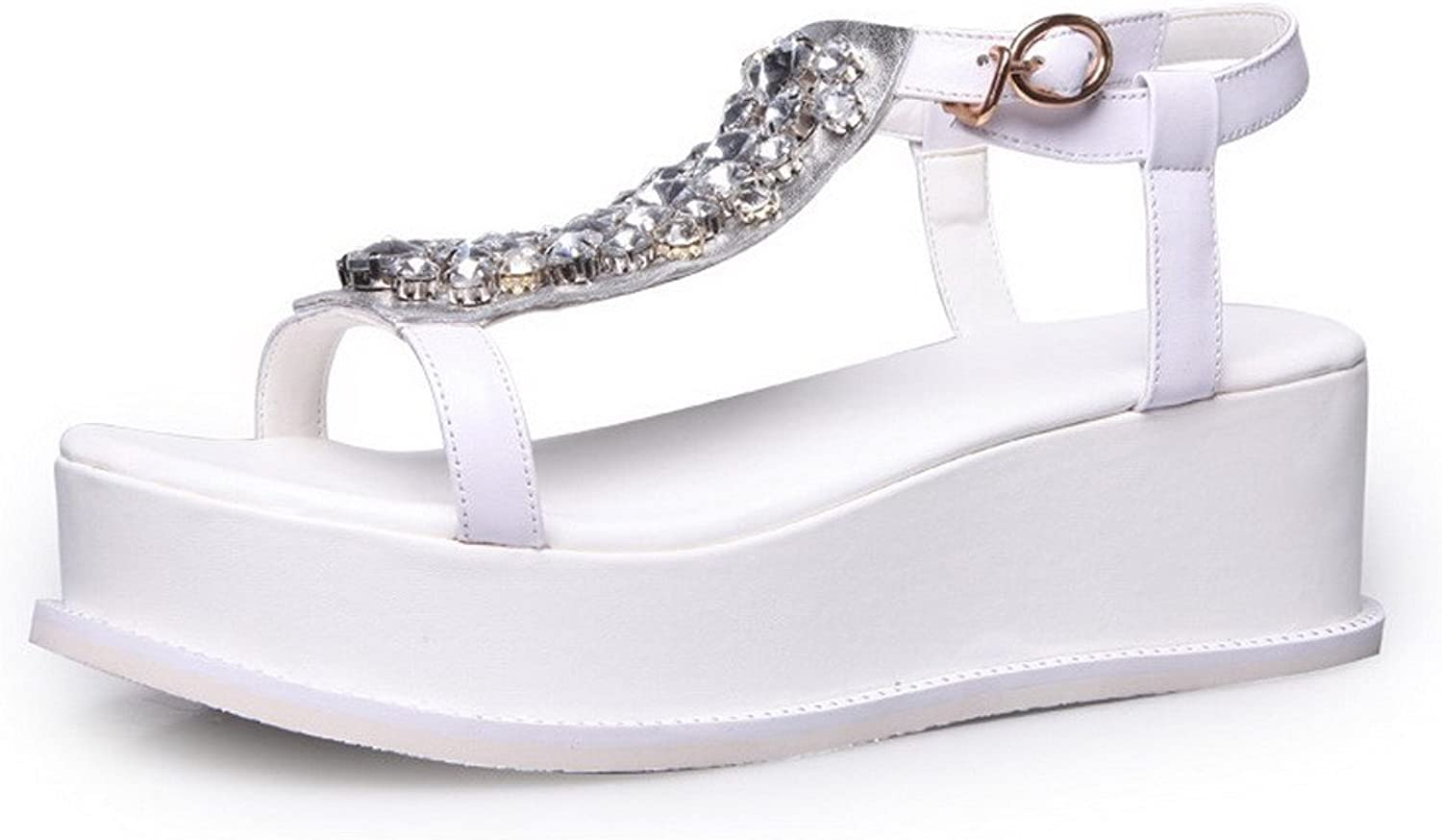AmoonyFashion Women's Buckle Open-Toe Kitten-Heels Cow Leather Solid Sandals