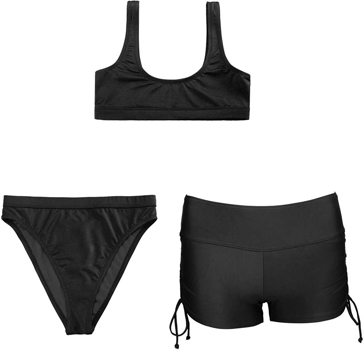 Women's Bikini Sets Two Pieces Swimsuits + One Piece Swim Short with Adjustable Side Ties Crop Top High Waisted Swimsuit