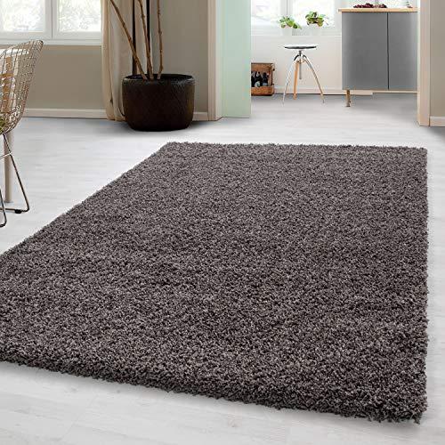 Teppich Hochflor Shaggy Teppich Unicolor einfarbig Teppich farbecht Taupe, Maße:120 cm x 170 cm