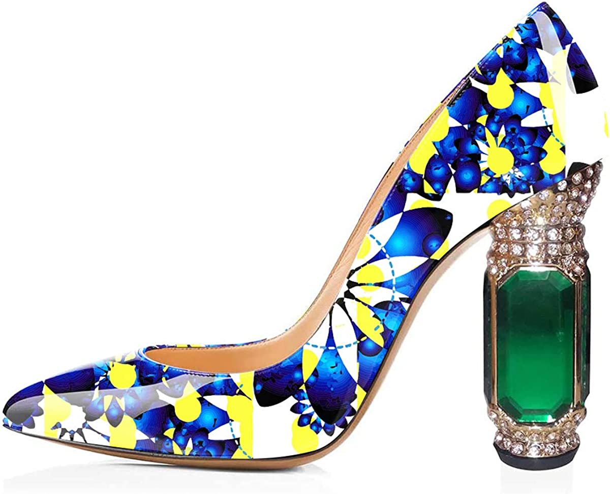 FSJ Women Phoenix Mall Printing Pump Chunky Crystal High Colorful Factory outlet Heels