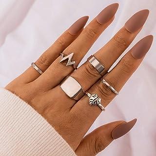 YERTTER Men Vintage Gold Silver Ring Set Open Rings Set Rhinestone Crystal Rings Set Joint Knuckle Ring Set Finger Rings S...